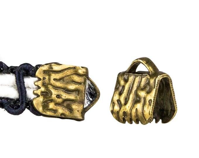 16pcs.  6mm (1/4 inch)  Antique Bronze Ribbon Clamp End Crimps - Artisan Series