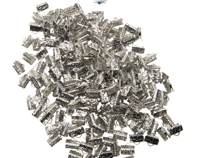 500 pieces. 10mm or 3/8 inch Platinum Silver Ribbon Clamp End Crimps - with or without loop - Artisan Series