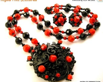 45% off Sale Miriam Haskell Necklace and Earrings Black and Red Glass Beads 1960s