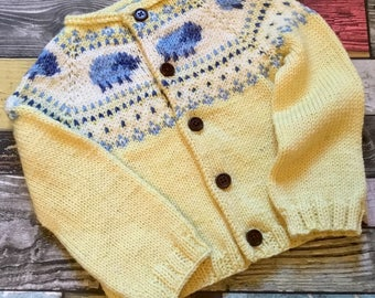 Hand knit sheep cardigan 6 to 12 months