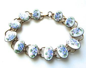 Vintage Bliss Bothers Guilloche Enamel Floral Link Bracelet