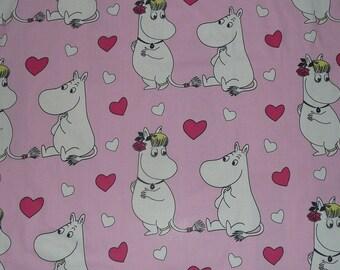 SUPER SUMMER SALE Moomin cotton fabric pink Heart Moomin tillukka love princess bride wedding
