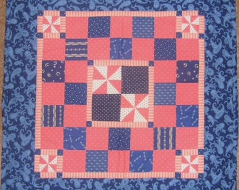 Pinwheels and Squares Table Topper or Doll Quilt