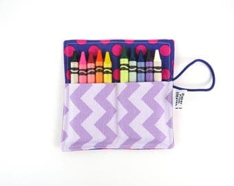 Mini Crayon Roll - Purple - flower crayon holder girls party favor flower girl gift easter basket valentine gift