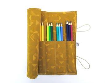 Pencil Case - Gold Batik - jewel tone pencil roll, Bible Journaling, adult coloring, colored pencil holder
