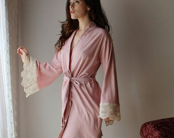 organic cotton robe with lace trim sleeve - HESTER - sleepwear and lingerie range - made to order