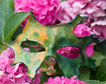 Fall Oak Leaf Leather Masquerade Mask