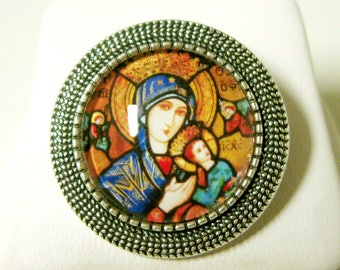 Our Lady of Perpetual Help brooch/pin - BR09-029