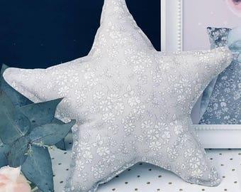 LIBERTY STAR PILLOW constructed from Liberty Art Fabric Capel K (light grey)