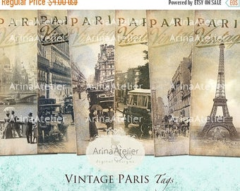 SALE - 30%OFF - BOOKMARKS Vintage Paris - Digital Tags - Hang Tags - Vintage Collage - gift Tags, scrapbooking, mixed media, altered art - p