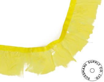 """Feather Trim - Turkey Marabou Feather Fringe Trims - Yellow - 4""""-4.5"""" (1 yard)"""