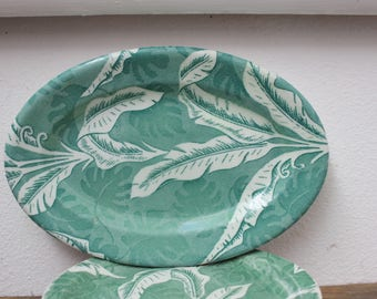 """Tepco China Green Shadow Leaf Palm Banana Restaurant Ware Plater 9 3/4"""" x 6 3/4""""  VINTAGE by Plantdreaming"""