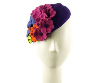 Easter Bonnet Hat, Fascinator Hat, Mother of the Bride Hat, Purple Hat, Pillbox Hat, Wedding Hat, Church Hat, Easter Hat, Purple Fascinator