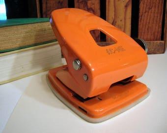 Vintage 1970's AC-ME Orange Metal 2 or 3-Hole Industrial Paper Punch ~ Retro Urban Office Decor
