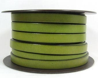 Summer Sale - 25% off 10mm Flat Leather - Olive Green - 10F-11 - Choose Your Length
