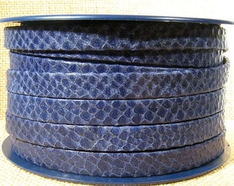 10mm Flat Leather - Blue Snakeskin Texture