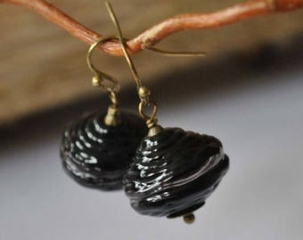 SALE Black Ridged Hollow Glass Earrings, Light Weight Earrings, Dark Blown Glass Earrings