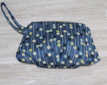Upcycled Upholstery Clutch, Blue Dot Wristlet, Pleated Clutch