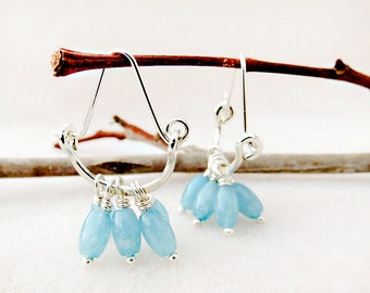 Aquamarine Hoop Earrings, Crescent, Blue, Silver, Hand Forged, Gemstone Earrings, March Birthstone, Handmade, Gift for Her, Gift for Woman