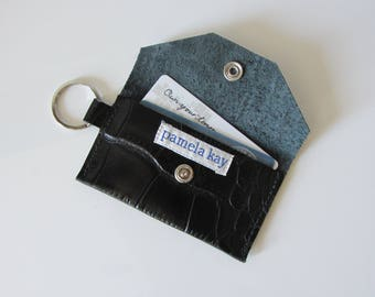 ID Keychain Wallet in Alligator Embossed Black Leather