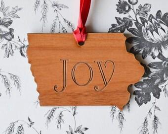 Joy Engraved Iowa Ornament