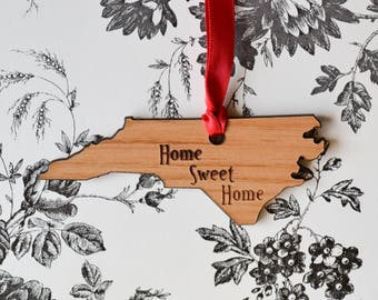 North Carolina State Wood Ornament - HOME SWEET HOME - Engraved