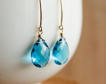 ON SALE Gold London Blue Quartz Gemstone Earrings - 14K Gf - Hook Earrings