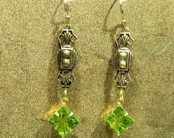 Peridot Glass Victorian Earrings - Brass Dangle - Vintage Glass Bead - Downton Abbey Inspired