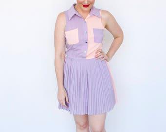 Pastel Two Tone Pocket Dress (size 6)