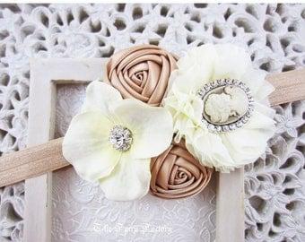 Ivory and Gold Headband, Champagne Gold Satin Chiffon & Hydrangea Flowers Cameo Headband or Hair Clip, Photo Prop, Child Girls Headband