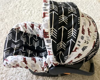 Black Arrows Infant Car Seat Cover, Rustic Baby Car Seat Cover, Woodland Baby Seat Cover, Boy Car Seat Covers, Infant Covers
