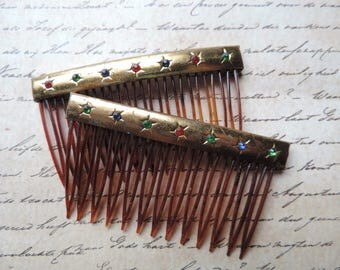 vintage jeweled hair combs gold and rainbow star dressy floral hair comb pair