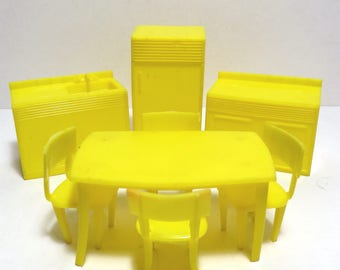 MPC Yellow Kitchen Set Dollhouse Furniture Vintage 1960s Plastic Table - Chairs - Fridge - Sink - Stove Doll House Furniture