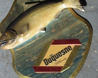Advertising Duquesne Pilsener Beer Sign Plaque Chalkware Trout