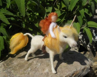 Unicorn and fairy, felted unicorn, white golden unicorn, Waldorf, magical unicorn, felted fairy, fantasy unicorn,  play school, nature table