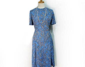 Vintage 60s Paisley Dress, Pleated Drop Waist dress, Aqua blue  Medium