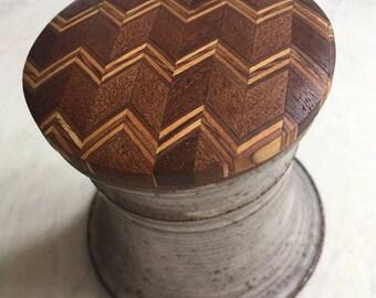 Vintage Ceramic Vessel With Wood Zig Zag Inlay Lid, Covered Beverage Holder, Stash Box, Functional Art, 1970s Fine Craft, Gift
