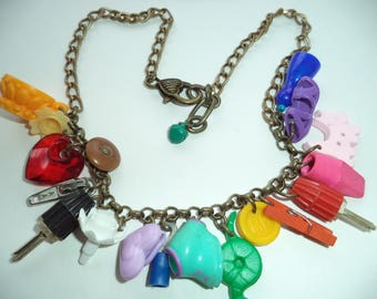 OOAK rainbow necklace, kitsch charms, harajuku decora, crazy colour, childish fun jewelry, plastic toys and found objects necklace, eco gift