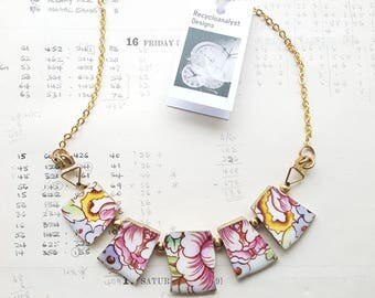 OOAK broken china necklace - recycled broken plate jewellery - small mosaic tiles - asymmetric necklace - cottage chic - Etsy UK