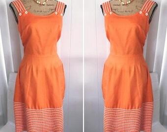 Cutie Pie Vintage 60's 70's era Orange Jumper Dress -- Size M