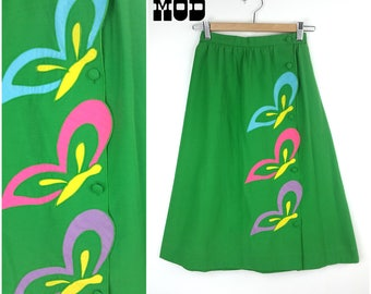 Vintage 70s 80s Kelly Green Butterfly Applique in Pink, Yellow and Blue, A-Line Skirt