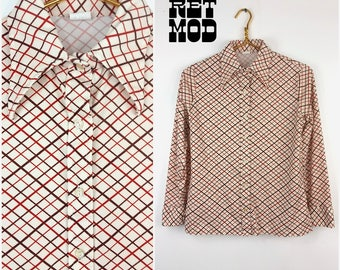 Vintage 70s Brown, Rust and Cream Plaid Lattice Pattern Button Down Shirt Blouse Top