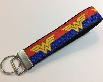 Red and Blue Wonder Woman Keychain Wristlet Key Fob