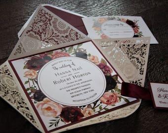 laser pocket Wedding Invitations