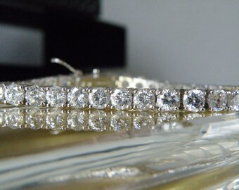 Big Sterling Silver 925 Platinum 29ct Round Cut Simulated Diamond Like Bridal Tennis Wedding Brides Bracelet Fits 8""