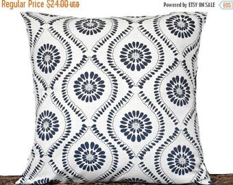 Christmas in July Sale Navy Blue Quatrefoil Pillow Cover Cushion Medallion White Indigo Moroccan Decorative Repurposed 18x18