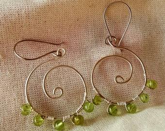 Sterling peridot  beads Earrings