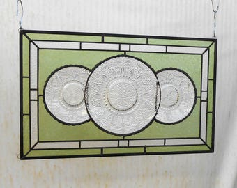 Vintage 1940s Federal Heritage Pattern Depression Glass Valance, Stained Glass Window Plate Panel, Antique Stained Glass Transom Window