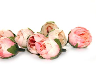 10 Cream Pink Tea Roses - Artificial Flowers, Silk Roses, Small Flowers