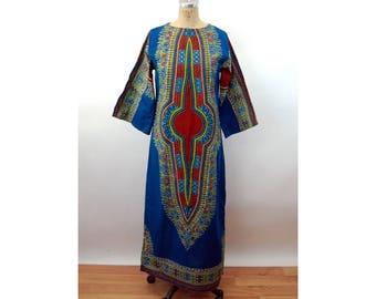 1970s caftan African dashiki style cotton dress ethnic tribal Size M